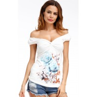Angashion Women's Floral Print Sleeveless V Neck T-Shirt Blouses Tops