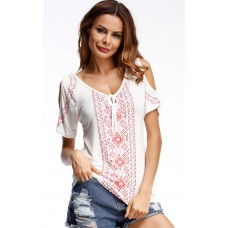 Angashion Women's Casual Loose Hollow Out Shoulder Vintage Print Top Blouses Shirts